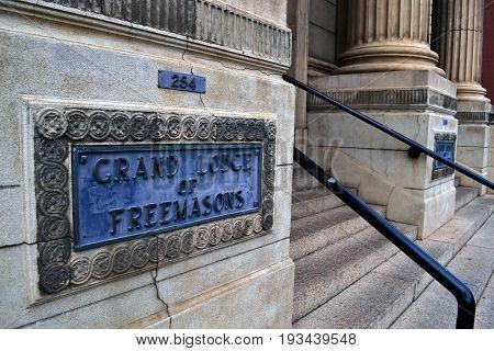 The Freemason Grand Lodge in Adelaide, South Australia