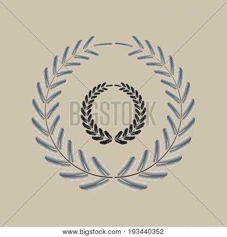 wreath black and silver rounded tip leaf set vector illustration image