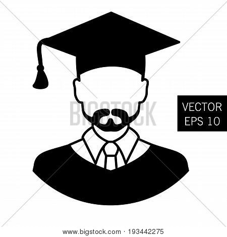 Icon graduation teacher, tutor graduation icon vector icon graduation the image of the teacher, educator outlet icon. Thick outline. Stock vector.