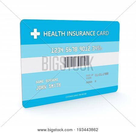 3D Render Of Health Insurance Card Over White