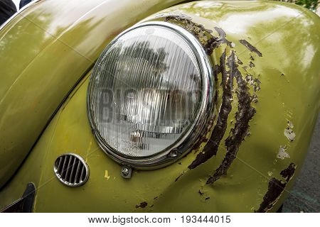 BERLIN - JUNE 17 2017: The rusty and dented body parts of Volkswagen Beetle. Classic Days Berlin 2017.