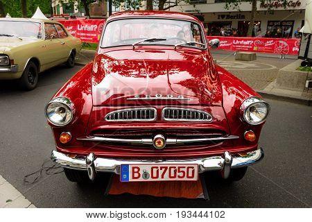 BERLIN - JUNE 17 2017: Small family car Skoda S440 1958. Classic Days Berlin 2017.