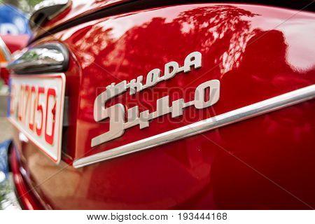 BERLIN - JUNE 17 2017: Detail of the small family car Skoda S440 1958. Close-up. Classic Days Berlin 2017.