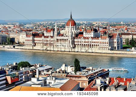Budapest Hungary Europe - Parliament and Danube panoramic day view