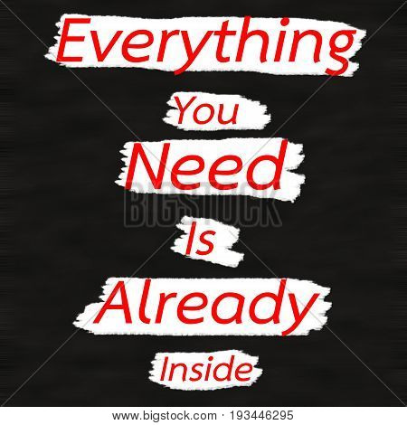 Everything You Need Is Already Inside.Creative Inspiring Motivation Quote Concept Red Word On Black wood Background.