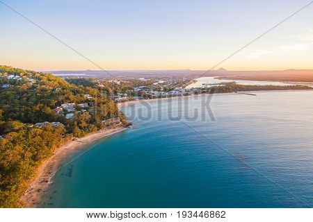 An aerial view of Noosa at sunset on Queensland's Sunshine Coast in Australia