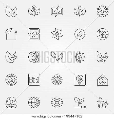 Bioenergy icons set - vector renewable energy and electricity concept symbols or design elements in thin line style