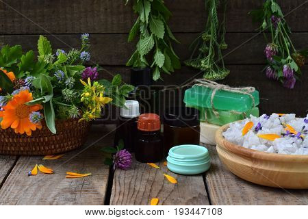 Composition Of Fresh Herbs And Flower Used In Natural Alternative Medicine Or Cosmetology For Prepar