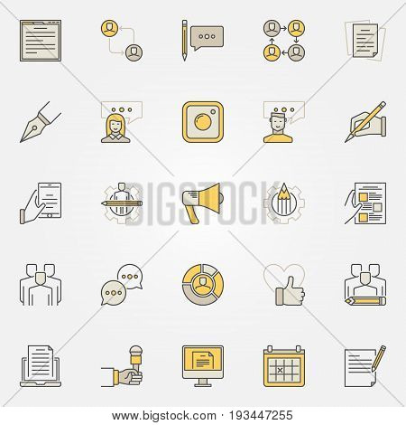 Blog and blogger colorful icons. Vector set of creative blogging and social media signs