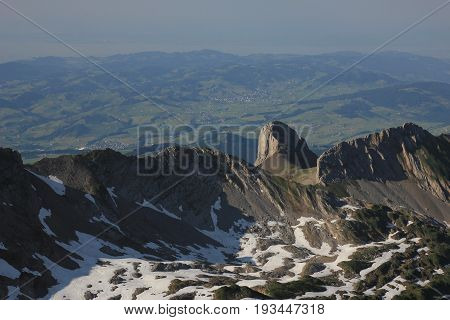 Rocks seen from Mount Santis Appenzell Canton.