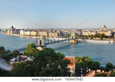 Budapest Hungary Europe - Chain bridge river Danube and city panoramic view