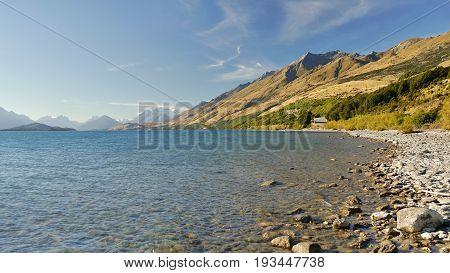 Mountain glacial lake, New Zealand, South Island.
