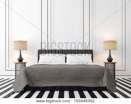 Modern vintage bedroom with black and white 3d rendering image. There is a black and white floor. Wall decor with black groove and finished with dark brown bed