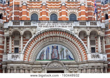Westminster Cathedral Catholic Church neo-Byzantine style London United Kingdom. It is the largest Catholic church in England and Wales and the seat of the Archbishop of Westminster.
