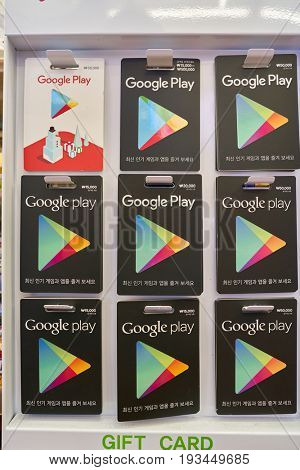 SEOUL, SOUTH KOREA - CIRCA MAY, 2017: Google Play cards on display at 7-Eleven convenience store. 7-Eleven is an international chain of convenience stores.