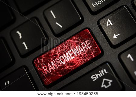 Message on broken red enter key of keyboard. Computer ransomeware virus attack. Copy space