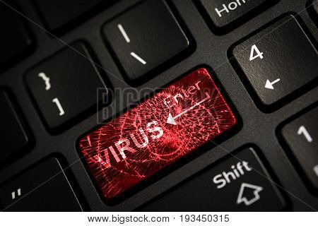 Message on broken red enter key of keyboard. Computer virus attack. Copy space