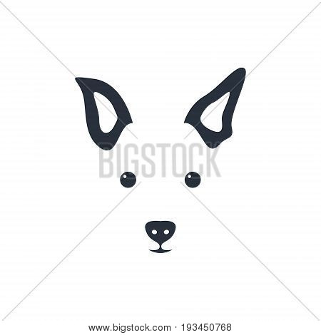 Silhouette simple head dog. Dog icon. Vector illustration.