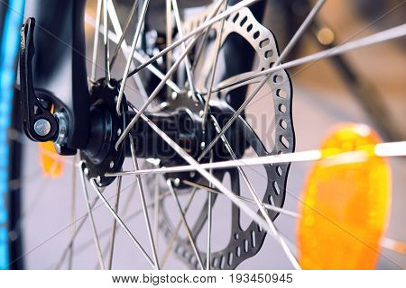 close up of a glossy bicycle disc break