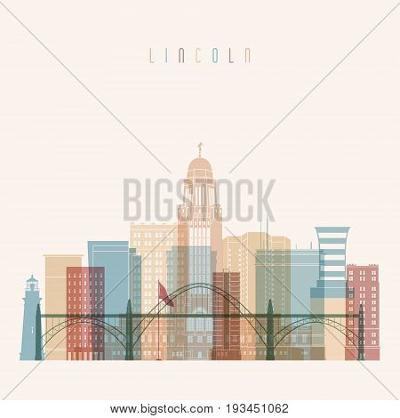 Lincoln state Nebraska skyline detailed silhouette. Transparent style. Trendy vector illustration.