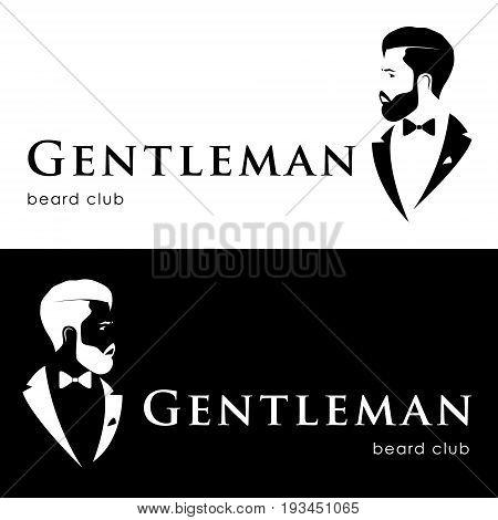 Gentleman logotype beard club. Hipster in tuxedo. Vector illustration.