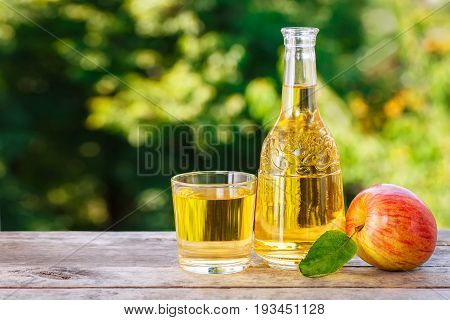 apple cider or juice in glass with ripe fresh apples on wooden table with green natural background. Summer drink