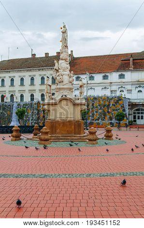TIMISOARA, ROMANIA - 15 OCTOBER 2016 Statue from 1756 in Liberty Square in Timisoara