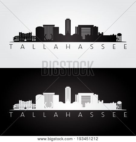 Tallahassee USA skyline and landmarks silhouette black and white design vector illustration.