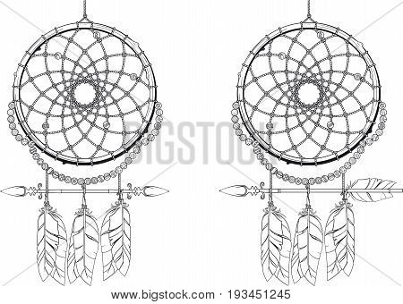 Indian mascot Dream catcher protecting the sleeper from evil spirits. Two options. They differ only by arrows