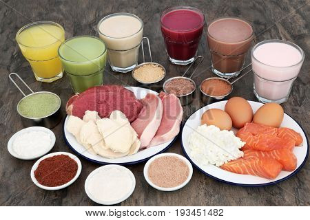 High protein food for body builders of meat, fish and dairy with supplement powders and health drinks.