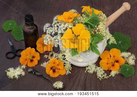 Natural flower and herb medicine with meadowsweet, queen annes lace, nasturtium, angelica seed heads and mint with essential oil bottle.
