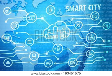 Smart City Smart Living Background with various icons