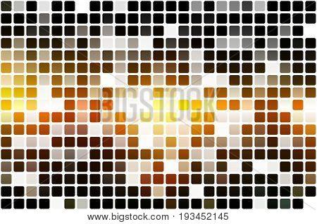 Black Orange Yellow Occasional Opacity Mosaic Over White