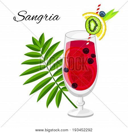 Sangria fruit cocktail cartoon style. Summer long drink isolated on white for restaurant bar menu or beach party banner and flyer