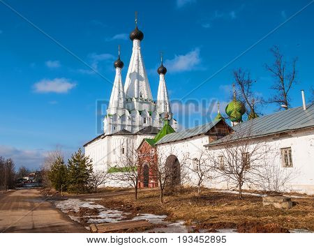 Beautiful ancient white-stone church in the ancient Russian town of Uglich