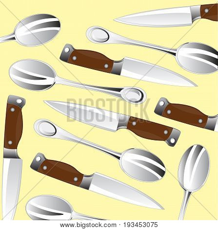 Pattern from knifes and spoon on light background