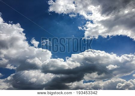 Blue sky clouds. Beautiful blue sky with white clouds background. Sky white clouds.