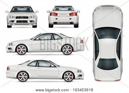 Sports car vector template for car branding and advertising. Isolated coupe car set on white background. All layers and groups well organized for easy editing and recolor. View from side front back top.