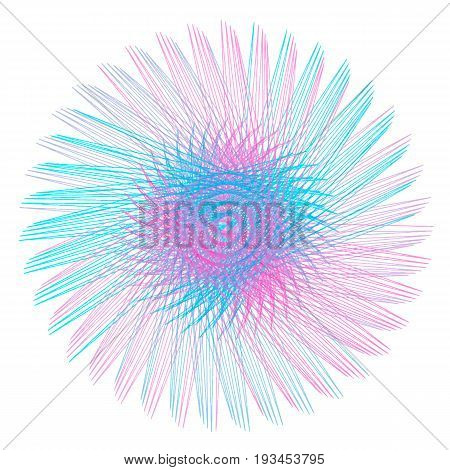 Round spirograph in blue, pink and violet colors isolated on white background. Abstract shape as flower. Illustration for prints, design, wrapping paper, fabric, certificates, New year garlands.