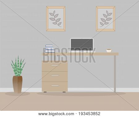 Office in loft style on a gray background. Vector illustration. Table with drawers, a succulent in the beautiful vases floor, cute paintings. Cup with coffee, laptop