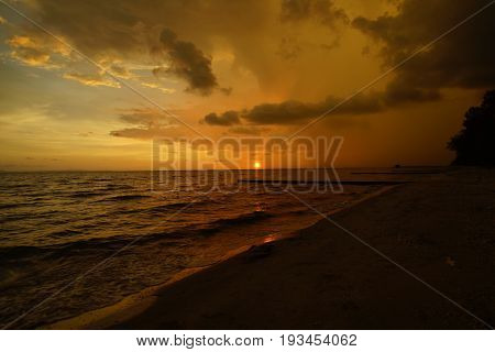 Beachfront are twilight and of the sunset and the cloud on the sea in thailand