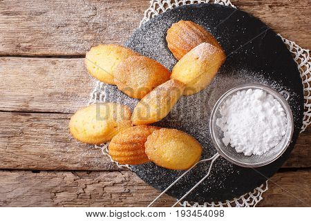 Cookies Of Madeleine With Sugar Powder Close-up On The Table. Horizontal Top View