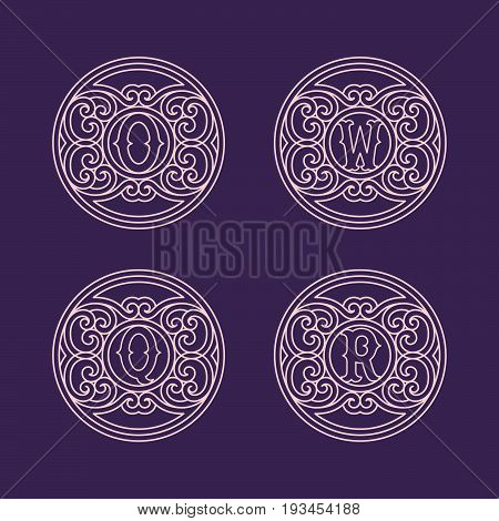 Set of flourishes round elegant ornamental monograms with letters O, Q, R, W in trendy linear style. Vector illustration.
