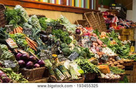 Asparagus Brocolli and Vegetables in a Market