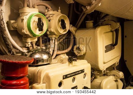 Kaliningrad, Russia - June 12 2017: Close-up View Of Valves, Tubes And Other Metal Details Of A Mach