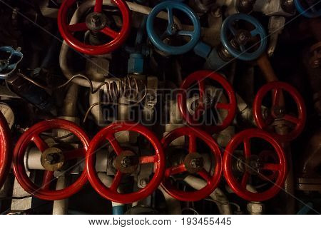 Kaliningrad, Russia - June 12 2017: Close-up View Of Red And Blue Valves Of Different Sizes, A Machi