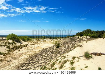 Dune Protecting Wooden Construction Over The Sand At Natural Park Of Curonian Spit, And A Lagoon At