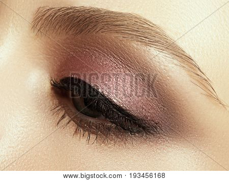 Beautiful Macro Shot Of Female Eye With Extreme Long Eyelashes And Black Liner Makeup. Perfect Shape