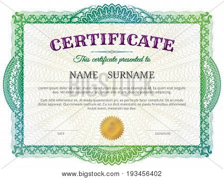 Certificate template with guilloche elements. Green diploma border design for personal conferment. Best vector image for award patent validation license education authentication achievement etc