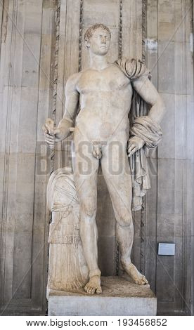 ParisFrance- May 032017:The statue of Hercules from the collection of Borghese. The Louvre